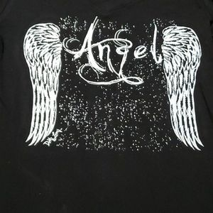 NWT!! Black Long Sleeve Angel V-neck Top, Large